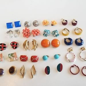 20 pairs vintage clip on earrings lot